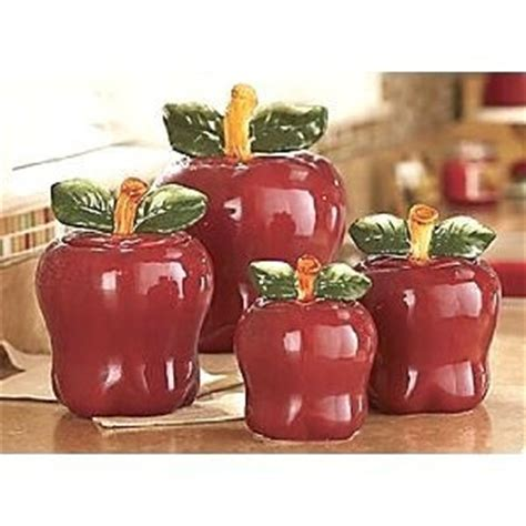 Amazon.com: Set of 4 Apple shaped red ceramic CANISTERS