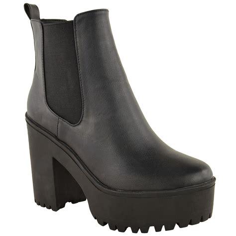womens ladies chelsea ankle boot flat  mid block