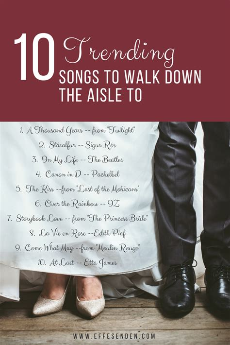 There is again something fun, light hearted and romantic about this song which works well during the processional walk. The most requested songs to walk down the aisle to of 2017! | Wedding aisle songs, Wedding ...