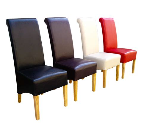 premium quality dining chairs faux leather roll top scroll