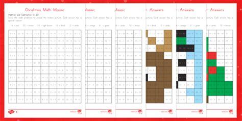 christmas math mosaic worksheet activity sheets christmas