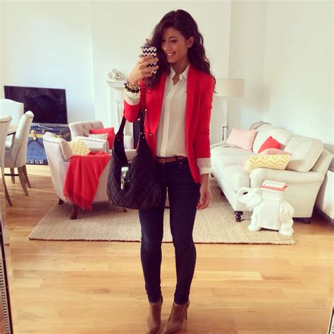 Mimi Ikonn   Red blazer winter outfit   Look of the Day   Pinterest   Blazers Teacher outfits ...