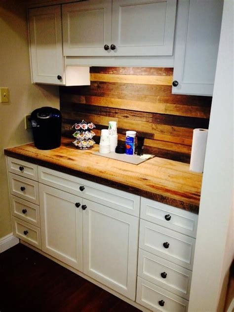 Custom Coffee Station with Reclaimed Wood Planks and