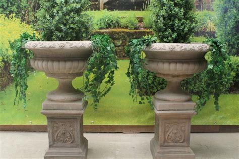 Two Stone Garden Statues Urns & Plinths Ebay