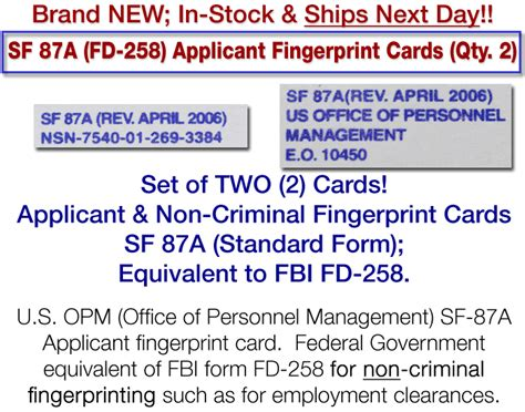 We did not find results for: FD-258 SF 87A Federal Applicant FINGERPRINT CARDS Qty 2