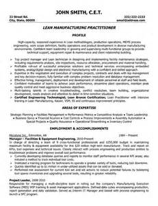 Manufacturing Engineering Resume by Lead Manufacturing Practitioner Resume Sle Template