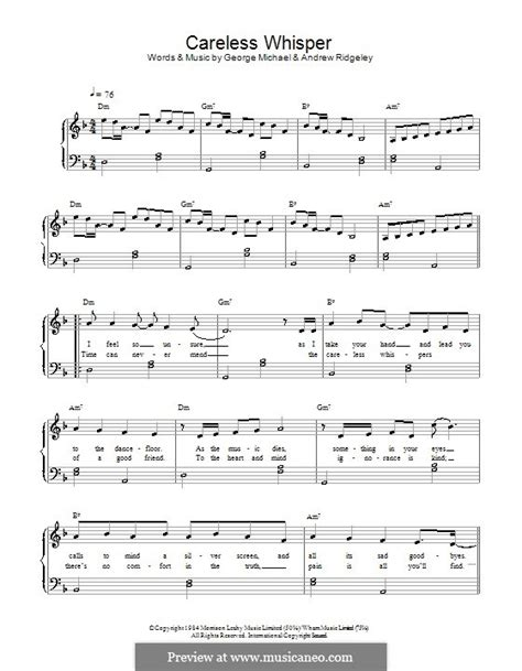 careless whisper by a ridgeley g michael sheet music