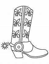 Cowboy Coloring Boots Pages Printable Western Print Template Birthday sketch template