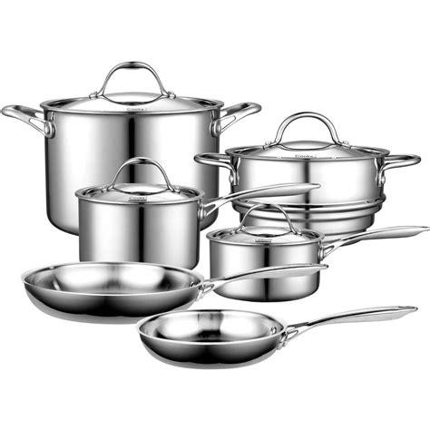 stainless cookware steel pots pans sets cooks clad lifetime ply warranty pot pan budget furniture staub piece