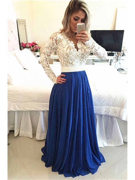 royal blue white lace chiffon long sleeves prom dresses