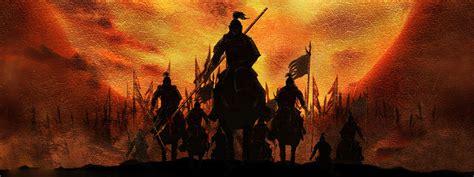 ancient war scenes background horses knight ruins