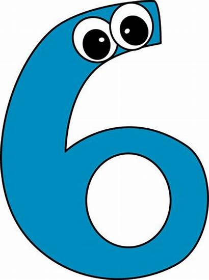 Number Six Clipart Cartoon Clip Eyes Sweep