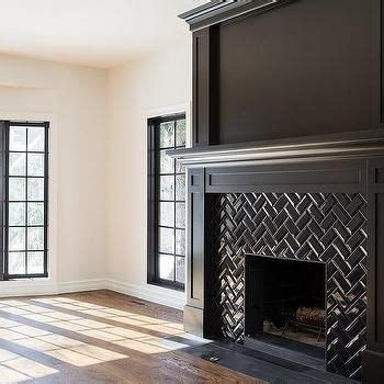 black herringbone fireplace mantel tiles herringbone