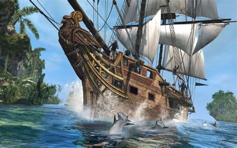 pirate ship accompanied  dolphins hd wallpaper