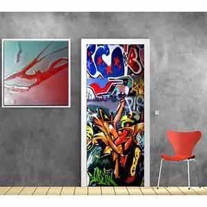 Papier Peint Sticker : papier peint porte d co tag graffiti art d co stickers ~ Premium-room.com Idées de Décoration