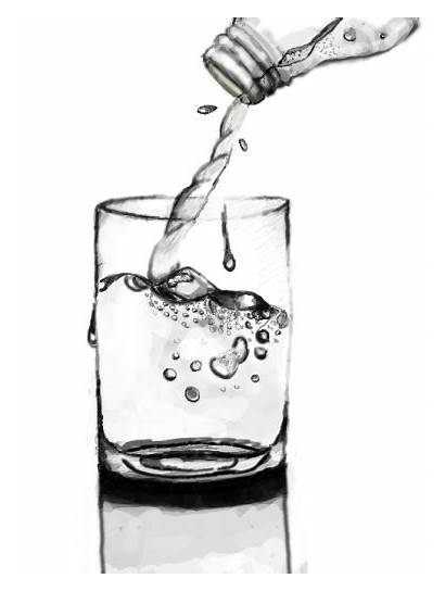 Water Drawing Cup Glass Pouring Drawings Colors