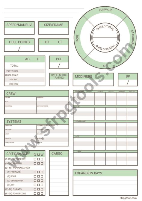 alternate starfinder character sheet
