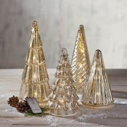 mercury glass trees with led lights set 4 pc set christmas decoration ebay
