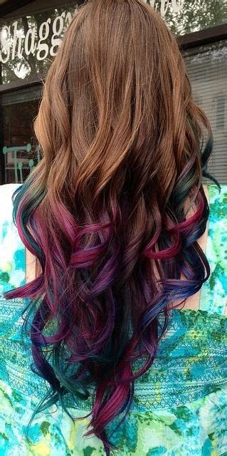 Dip Dye Hair Brownpink Green Blue Purple Shades Want