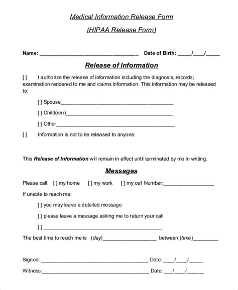 Privacy Release Form Template by 8 Sle Hipaa Release Forms Sle Templates