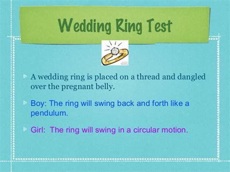 wedding ring test during pregnancy baby alvey guesstimate