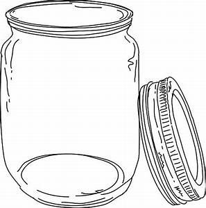 Mason Jar clipart open jar - Pencil and in color mason jar ...