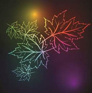 Neon lights with maple leaves design vector 03 Vector