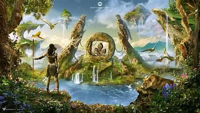 Stone Age Fantasy Prehistoric Lion Photoshop Plants