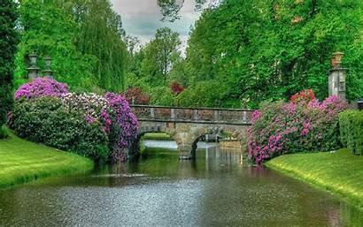 Nature Garden Bridge Amazing Flowers Gardens Beauty