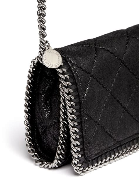 stella mccartney falabella quilted crossbody chain bag  black lyst