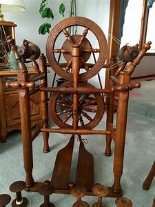 Restored Williamson Spinning Wheel In Oak And Chair
