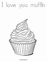 Coloring Muffin Cupcake Template Outline Pages Tracing Built California Usa Twistynoodle Whimsical sketch template