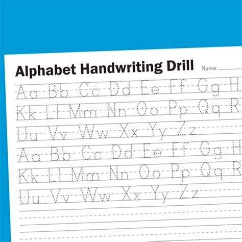 alphabet handwriting drill worksheets for children