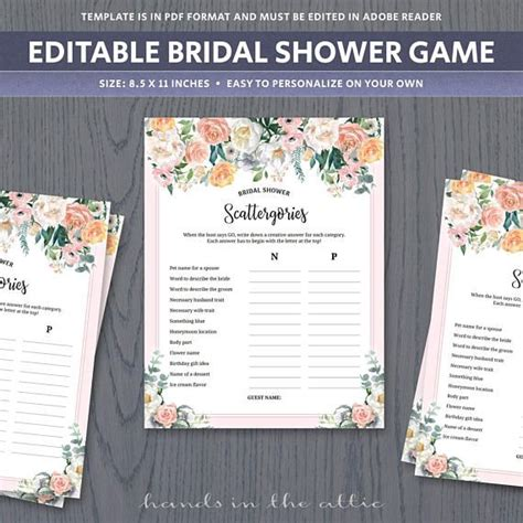 Scattergories game template unique bridal shower games for