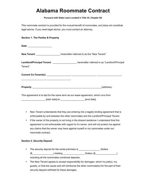 Roommate Agreement Template Free Alabama Roommate Agreement Template Word Pdf