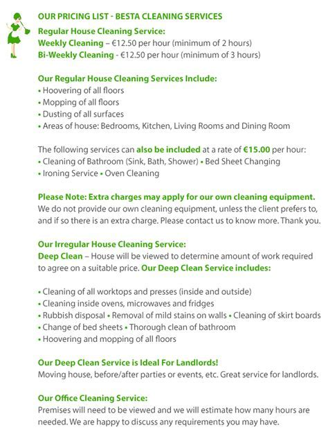 House Cleaning Price List   Office Cleaning Price List