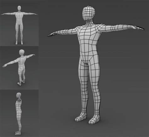blender male template low poly modeling human good topology 3dcg topology