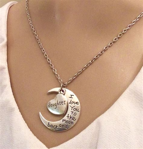 Necklace  I Love You To The Moon And Back Daughter