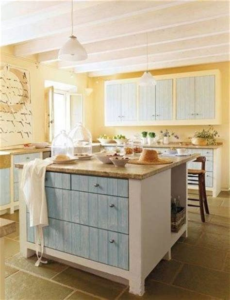 fetching images of blue and yellow kitchen design and