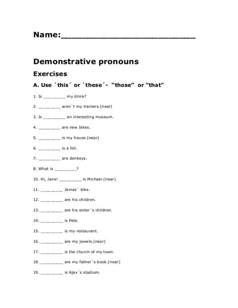 demonstratives completing exercises