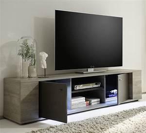 Meuble Tv Lumineux : meuble tv lumineux couleur chne gris et gris contemporain ~ Teatrodelosmanantiales.com Idées de Décoration