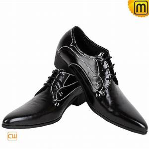 Mens Leather Oxford Dress Shoes Black CW760071
