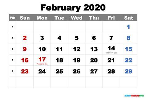 printable february  calendar  holidays