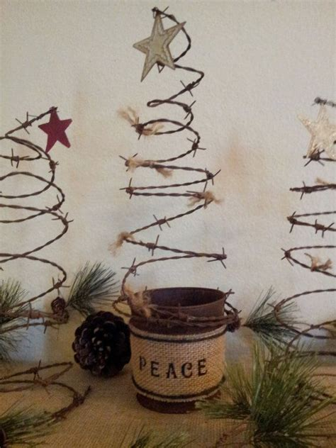 rustic barbed wire christmas tree in pail christmas