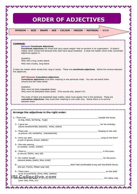 Adjective Order Worksheets Free