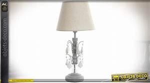 Abat Jour 50 Cm : lampe de chevet pied pampilles opaques et abat jour coloris lin cru 50 cm ~ Teatrodelosmanantiales.com Idées de Décoration