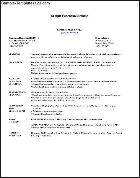 sle functional resume sle templates