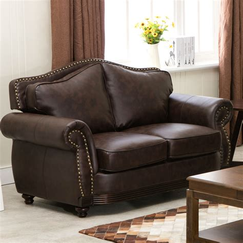 leather loveseat linden traditional brown bonded leather sofa loveseat