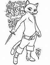 Puss Boots Coloring Pages Kitty Colouring Softpaws Drawing Girlfriend Characters Cartoon Female Shrek Sneaky Feet Disney sketch template