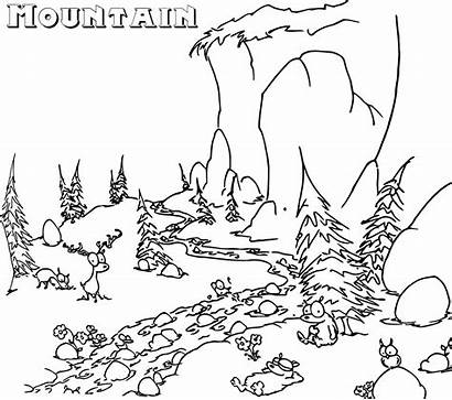 Coloring Pages Mountain Mountains Valley Printable Bestcoloringpagesforkids